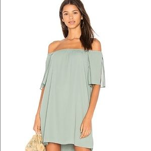 three eighty two sage green off the shoulder dress